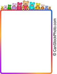 colored border with teddies