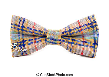 colored bow tie with a clip on a white background