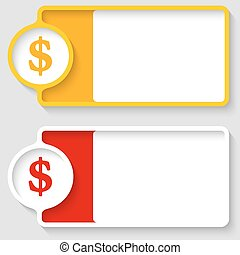 Colored boxes for your text and dollar symbol