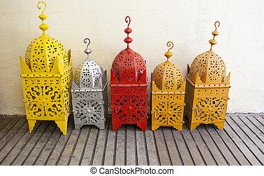 Colored brass lanterns at street market, Granada, Spain
