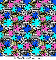 colored bright spots seamless pattern in style of the 80s