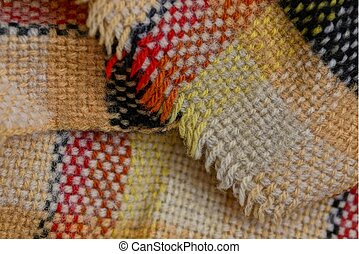 colored bright texture with a pattern of woolen fabric scarf