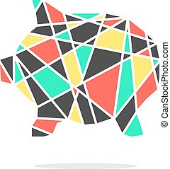 colored broken piggy bank with shadow