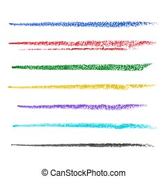 Colored brush strokes of pastel - Set of colored brush...