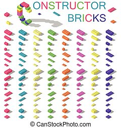 Colored building blocks of plastic constructor isometric set