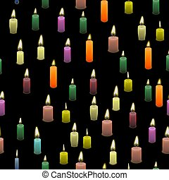 Colored Burning Wax Candles Seamless Pattern