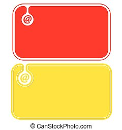 Colored business cards with email icon