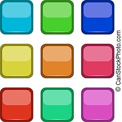 Colored buttons on a white background
