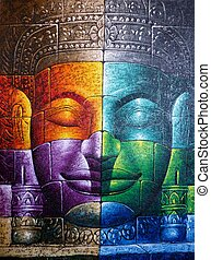 Colored Cambodian Buddha Face Picture Close Up