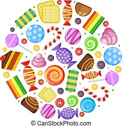 colored candies. chocolate caramel cakes fruit biscuits and other various sweets in circle shape