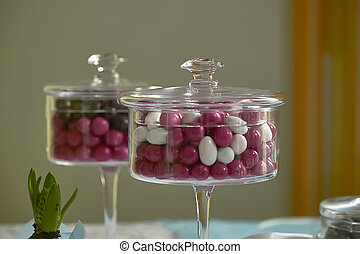 Colored candies.
