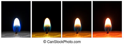 Different colored close-ups of a candle flame on a black background