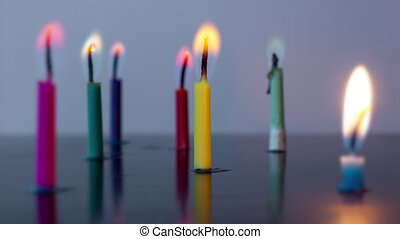 Colored candles burn in timelapse - Colored candles burn ...