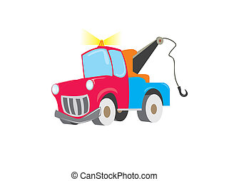 colored car for towing vehicles with flashing lights
