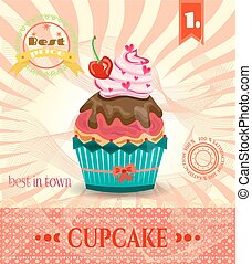 Colored card with cupcake with red cherry, bow, pink hearts, striped background, pattern, text