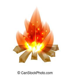 Colored cardboard image of a campfire on a white background. Flame and firewood, campfire, isolated object. Vector illustration