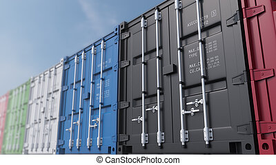Colored cargo containers against blue sky, shallow focus. 3D rendering