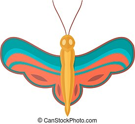 Colored cartoon butterfly isolated on white background.