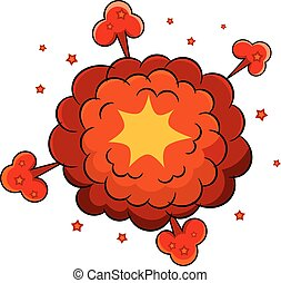 Colored Cartoon explosion. Cartoon explosion on a white background. Comic speech