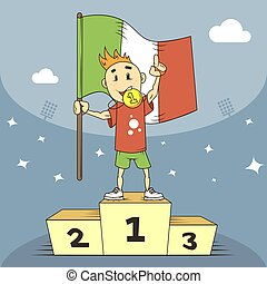 cartoon illustration champion of Italy in the first place of the podium with flag in hand