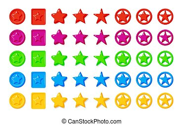 Colored cartoon stars game glossy icon vector set