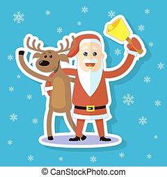 cartoon sticker flat art illustration deer and Santa Claus hugging