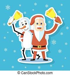cartoon sticker flat art illustration of Snowman with Santa Claus hugging