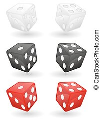 colored casino dice vector illustration