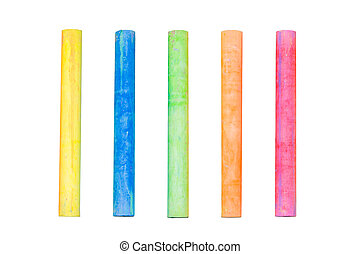 Colored chalk isolate on white background with clipping path