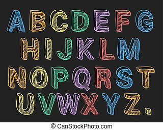 Colored Chalk Letters Font