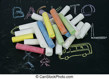 colored chalk on a blackboard
