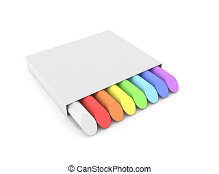 Colored chalks isolated on white background. High quality 3d...