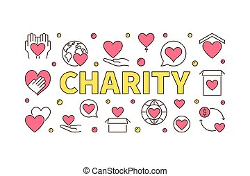 Colored charity illustration - vector creative banner