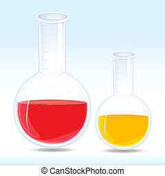 colored chemical in flask