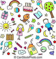 Colored Children Drawings Pattern