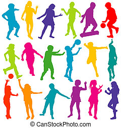 Colored children playing silhouettes set