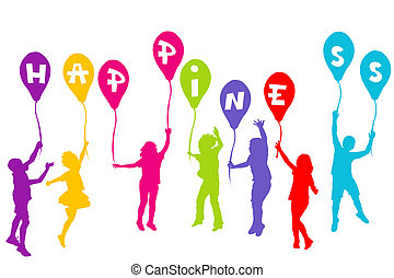 Colored children silhouettes holding balloons with Happiness
