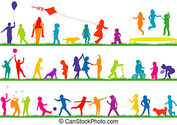 Colored children silhouettes playing outdoor - Set of...