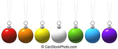 Colored Christmas Balls - christmas decoration, illustration...