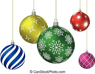 Colored christmas balls with different patterns