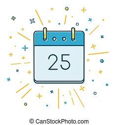 Colored Christmas calendar icon in thin line style