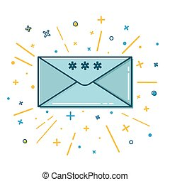 Colored Christmas mail icon in thin line style