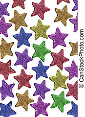 stars - colored christmas stars on a white background
