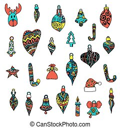 Christmas toys set. - Colored Christmas toys set. New Year, ...