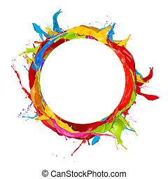 Colored circle - Paint splashes circle isolated on white ...