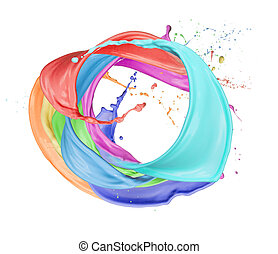 Colored circle - Paint splashes circle isolated on white...