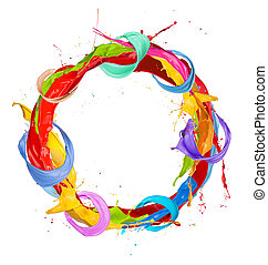 Colored circle - Paint splashes circle isolated on white...