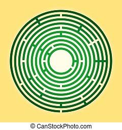 Colored circular maze, green radial labyrinth