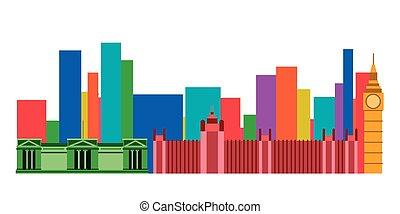 Colored cityscape of London