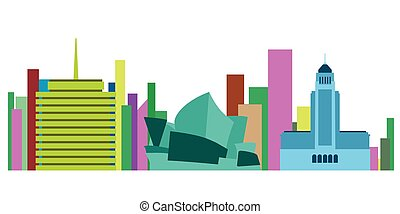 Colored cityscape of Sydney